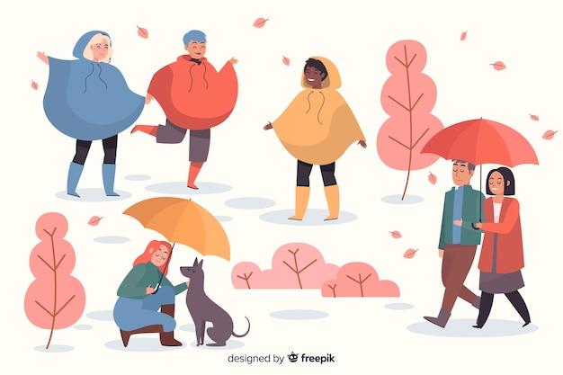 Ludzie w jesiennym parku Darmowych Wektorów