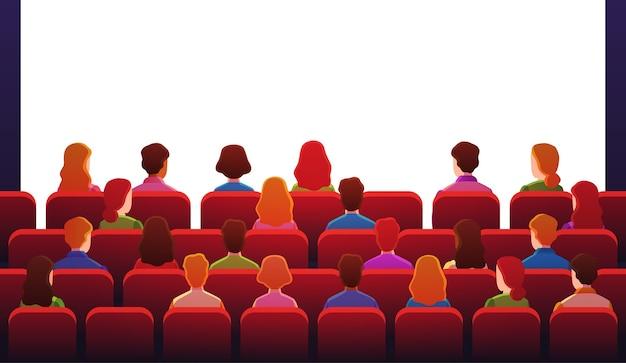 Ludzie W Kinie. Chłopaki Patrzą, Siedząc Na Czerwonych Krzesłach Przed Białym Ekranem W Sali Kinowej. Premium Wektorów