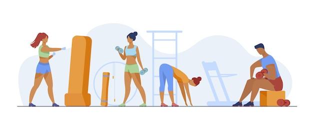 Ludzie W Klubie Fitness Darmowych Wektorów