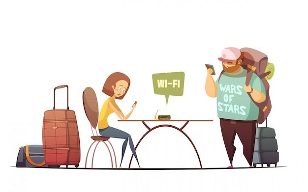 Ludzie w koncepcji projektowania wnętrz hostelu z mężczyzną i kobietą czytanie informacji online w ich telefonie Darmowych Wektorów