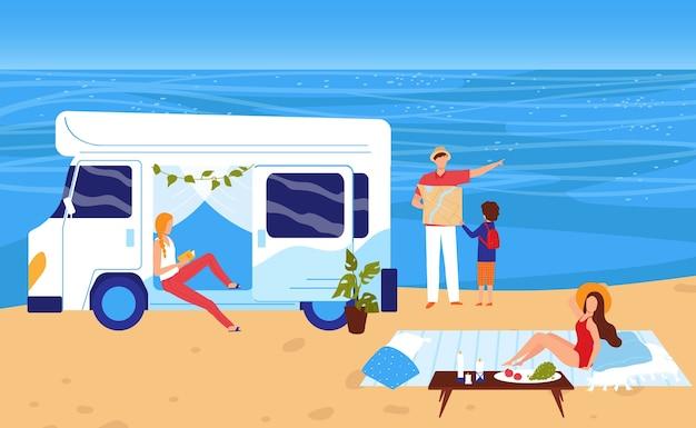 Ludzie W Lato Morze Plaża Wakacje Wakacje Ilustracja. Premium Wektorów