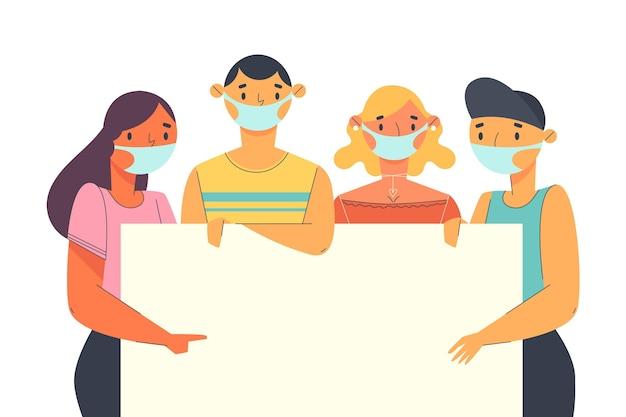 Ludzie W Maskach Medycznych Z Tabliczkami Darmowych Wektorów