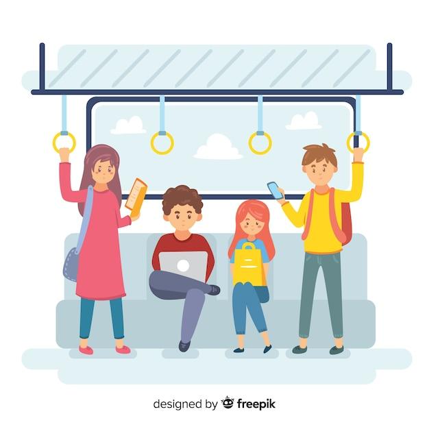 Ludzie w metrze Darmowych Wektorów