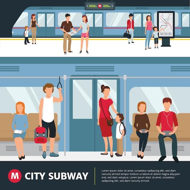 Ludzie w miasto metrze wśrodku pociągu i czekanie przy stacyjną płaską wektorową ilustracją Darmowych Wektorów