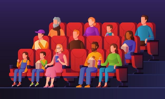 Ludzie W Sali Kinowej. Dzieci I Dorośli Oglądają Kino Siedząc Na Czerwonych Krzesłach Z Popcornem W Kinie. Rozrywka Oglądanie Koncepcji Tłumu Premium Wektorów