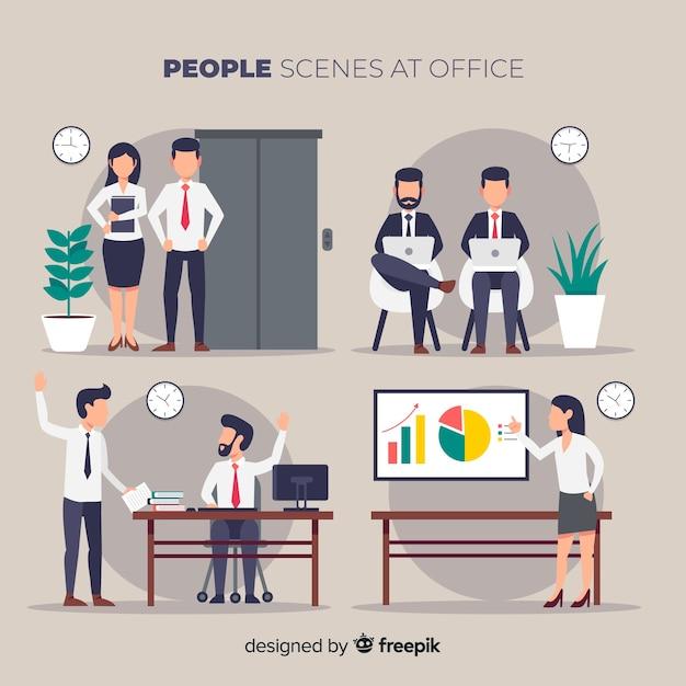 Ludzie w scenach biurowych Darmowych Wektorów