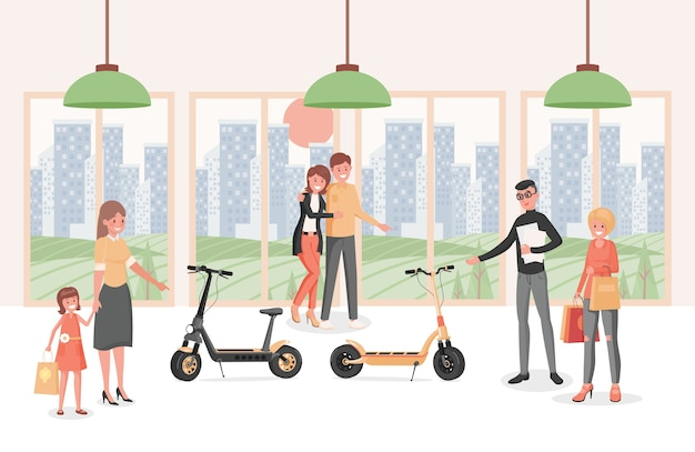 Ludzie W Skuterach Elektrycznych Kupują Płaską Ilustrację. Osoby Wybierające Nowoczesny Ekologiczny Transport Osobisty. Premium Wektorów