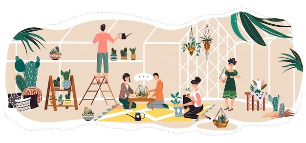 Ludzie W Szklarni, Sadzenie I Podlewanie Dekoracyjne Rośliny Doniczkowe, Ilustracja Premium Wektorów