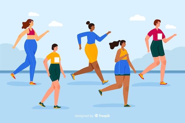 Ludzie W Wyścigu Maratońskim Darmowych Wektorów