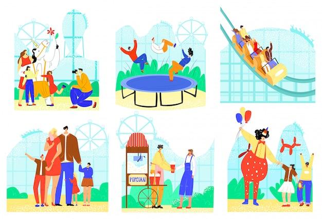 Ludzie W Zestawie Ilustracji Parku Rozrywki, Postać Z Kreskówki Aktywna Rodzina Dobrze Się Bawić, Ikony Atrakcji Parku Na Białym Tle Premium Wektorów