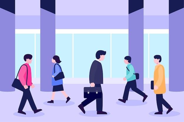 Ludzie Wracają Do Pracy Premium Wektorów