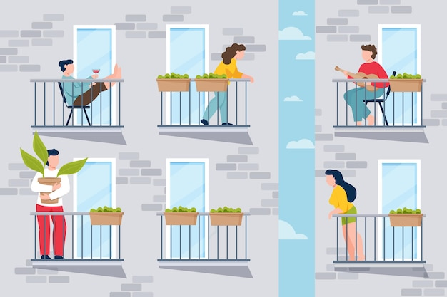 Ludzie Wykonujący Zajęcia Rekreacyjne Na Balkonie Darmowych Wektorów