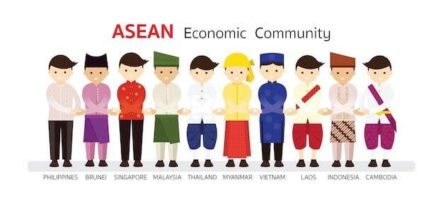 Ludzie Z Azji Południowo-wschodniej W Tradycyjnych Strojach Premium Wektorów