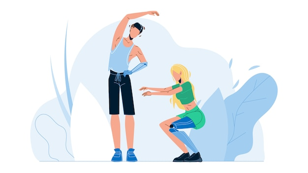 Ludzie Z Bionicznymi Kończynami ćwiczeń Fitness Premium Wektorów