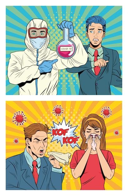 Ludzie Z Covid19 Pandemicznymi Postaciami W Stylu Pop-art Premium Wektorów