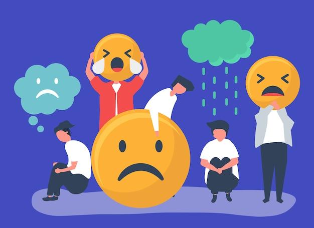 Ludzie z depresją i nieszczęściem Darmowych Wektorów