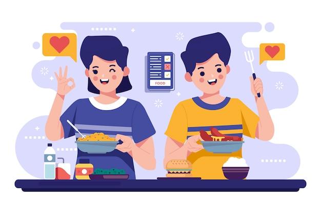 Ludzie Z Ilustracją Kolekcji żywności Darmowych Wektorów