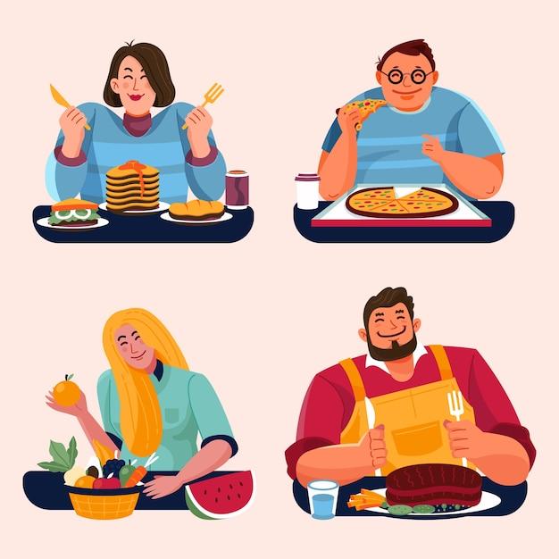 Ludzie Z Jedzeniem Jedzą Razem Darmowych Wektorów