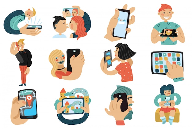 Ludzie z zestawami telefonów komórkowych Darmowych Wektorów