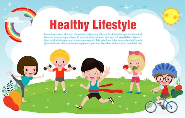 Ludzie Zdrowego Stylu życia, Szczęśliwe Dzieci ćwiczą Pozy I Sztandar Asana Jogi Premium Wektorów