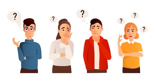 Ludzie Ze Znakami Zapytania. Mężczyzna I Kobieta Z Pytaniem, Myślący Facet Premium Wektorów