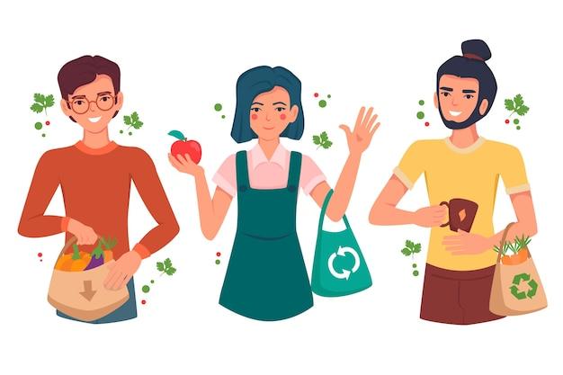 Ludzie żyjący Stylem życia Bez Odpadów Darmowych Wektorów