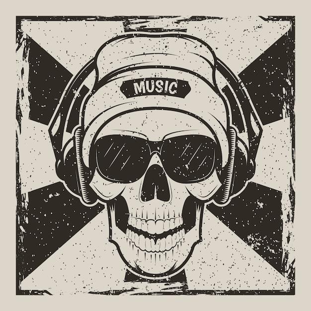 Ludzka czaszka w kapeluszu, okularach i słuchawkach słuchających muzyki Premium Wektorów