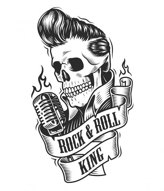 Ludzka Czaszka W Rock And Roll. Darmowych Wektorów