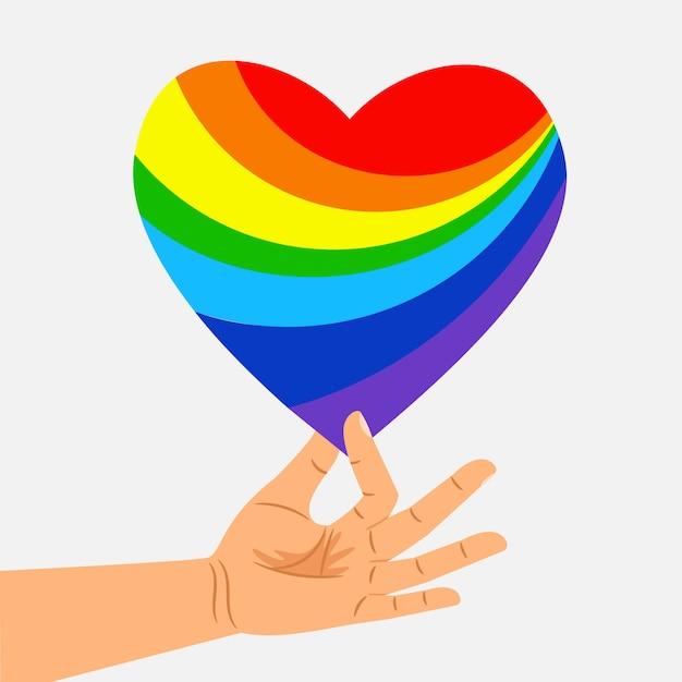 Ludzką Ręką Trzymać Serce Tęczy. Koncepcja Lgbt Premium Wektorów