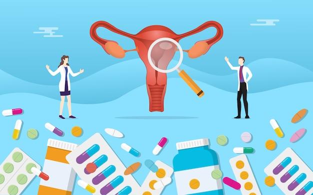 Ludzki Ovarium Medycyny Zdrowie Z Pigułki Leka Kapsuły Traktowaniem Premium Wektorów