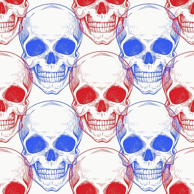 Ludzki wzór wiosłować kolor. ręcznie rysowane szkielet ilustracji. Premium Wektorów