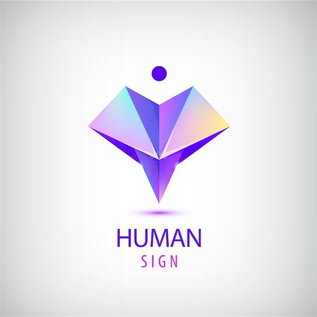 Ludzkie Logo, Znak. Origami Błyszczący Współczesny Człowiek Premium Wektorów