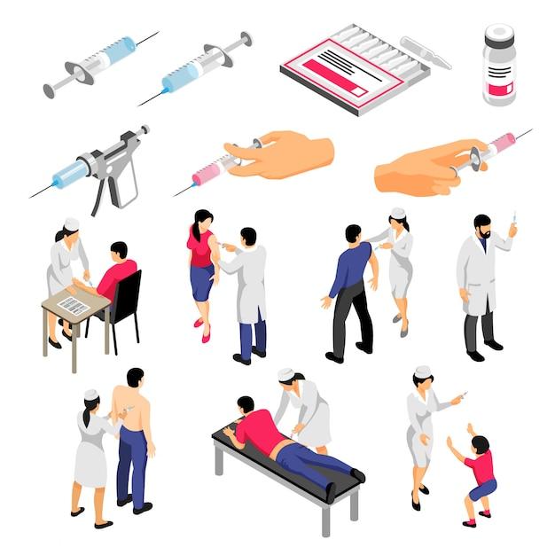 Ludzkie Postacie Podczas Szczepień I Strzykawki Z Produktami Medycznymi Zestaw Ikon Izometryczny Na Białym Tle Darmowych Wektorów