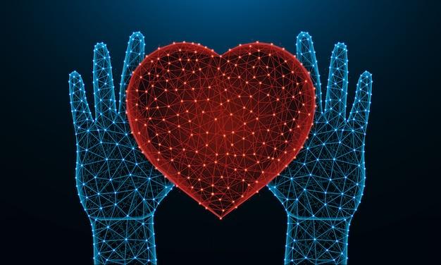 Ludzkie ręce i symbol serca low poly Premium Wektorów