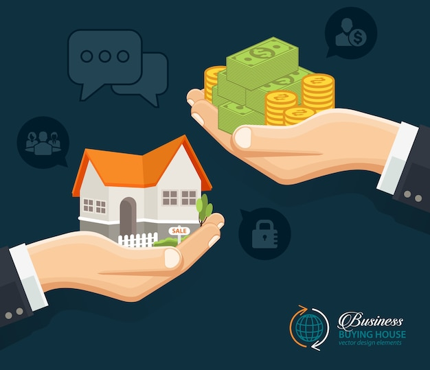 Ludzkie Ręce Z Pieniędzmi I Budowania Domu Premium Wektorów