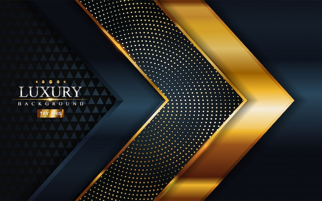 Luksusowa Ciemność Ze Złotą Linią I Zakładką Premium Wektorów