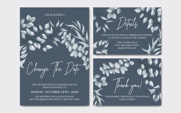 Luksusowa Karta Kwiatowy Odroczone Zaproszenie Na ślub Premium Wektorów