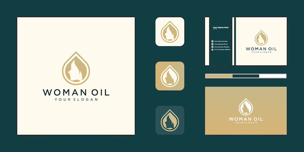 Luksusowa Kobieta Salon Fryzjerski Złoty Gradient Logo Projektowania I Wizytówki Premium Wektorów