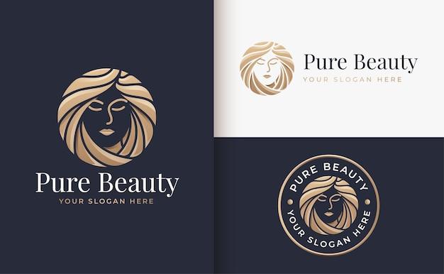 Luksusowa Kobieta Salon Fryzjerski Złoty Projekt Logo Gradientu Premium Wektorów