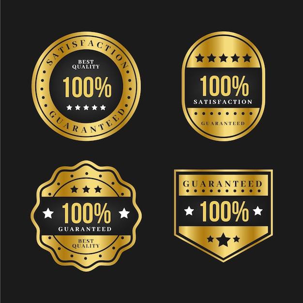 Luksusowa Kolekcja Etykiet Ze 100% Gwarancją Złota Darmowych Wektorów