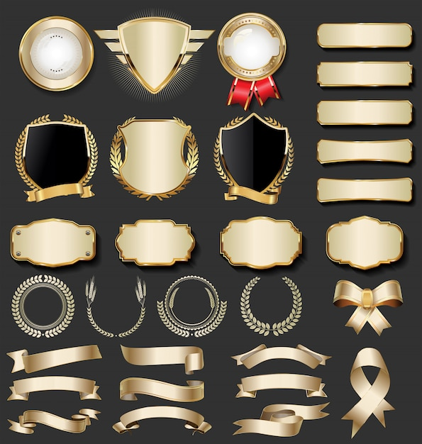 Luksusowa Kolekcja Złotej Odznaki Premium Wektorów