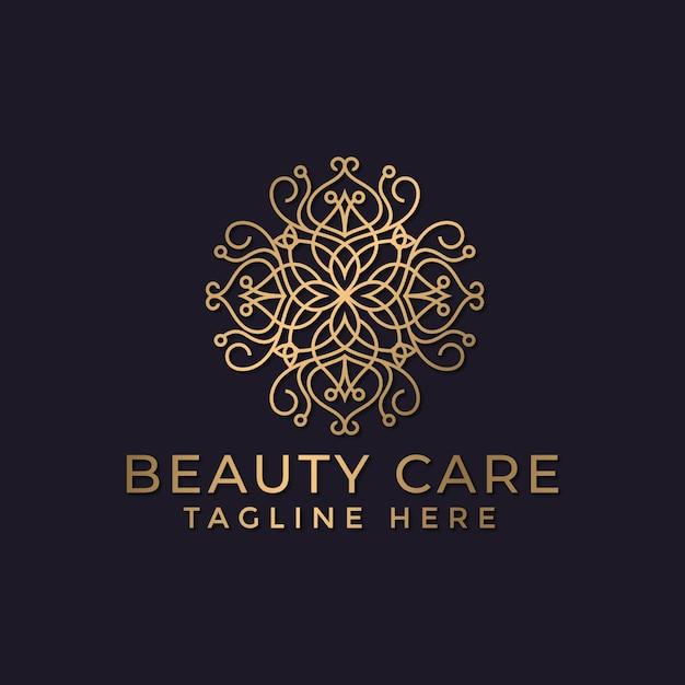 Luksusowa Mandala I Złoty Ozdobny Szablon Projektu Logo Dla Branży Spa I Masażu Premium Wektorów