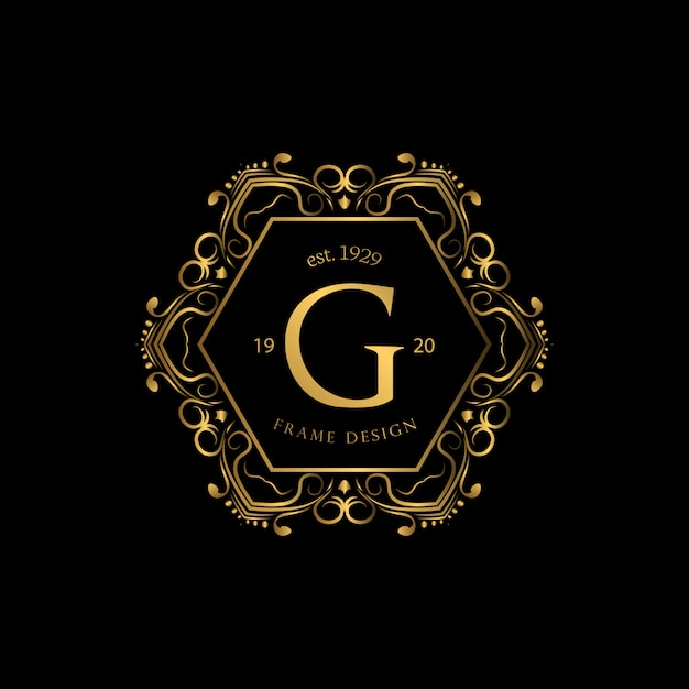 Luksusowa ramka z logo w kolorze złotym Premium Wektorów