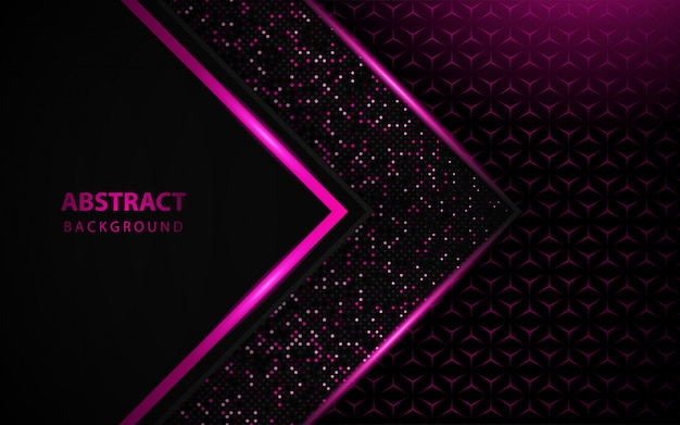 Luksusowe Czarne Tło Z Różowym Brokatem Dekoracji Premium Wektorów
