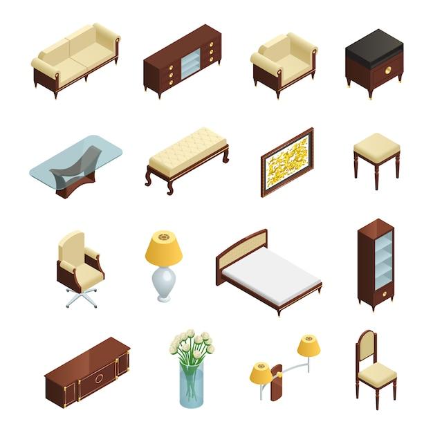 Luksusowe elementy izometryczne wnętrza ustawione do sypialni salonu i gabinetu z meblami i dekoracjami Darmowych Wektorów