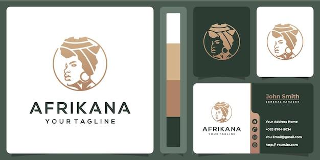 Luksusowe Logo Kobiety Afrikana Z Szablonu Wizytówki Premium Wektorów