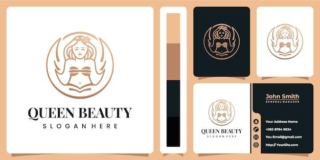 Luksusowe Logo Królowej Urody Z Szablonem Wizytówki Premium Wektorów