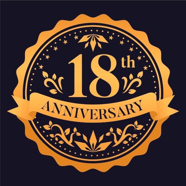 Luksusowe Logo Na 18 Rocznicę Darmowych Wektorów