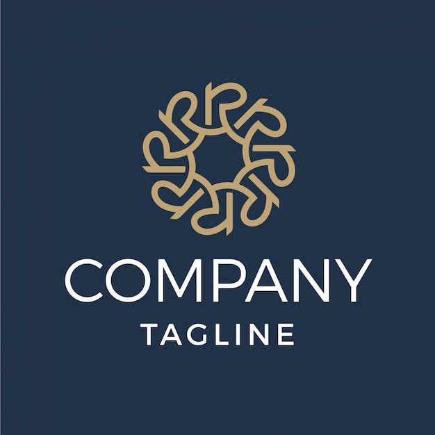 Luksusowe monogram litera r logo Premium Wektorów