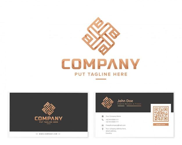 Luksusowe monogram logo z wizytówką papeterii Premium Wektorów